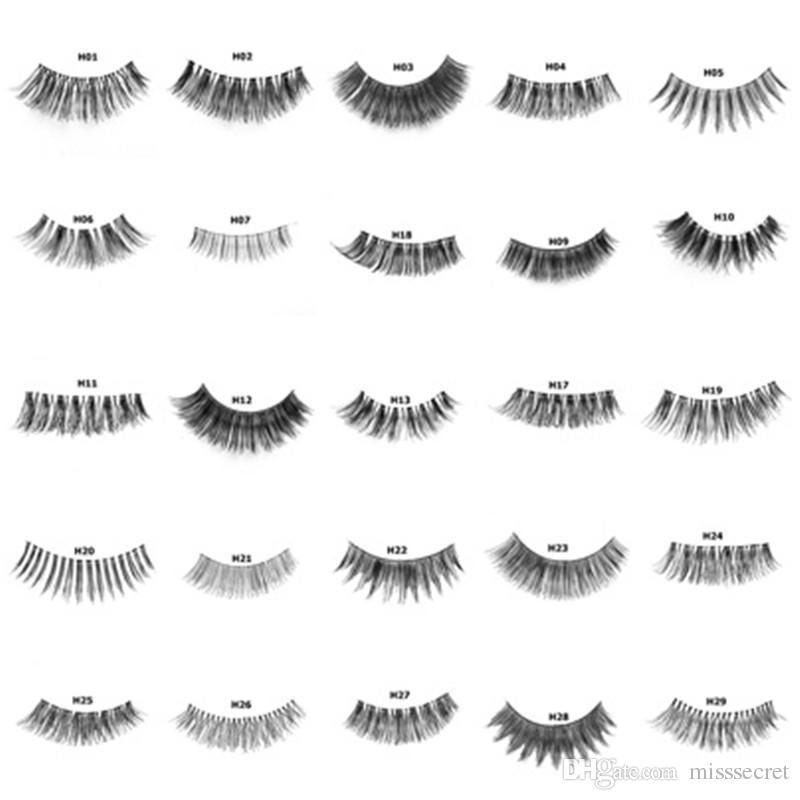 New 64 Styles Real Human Hair Eyelashes False Lashes Soft Natural