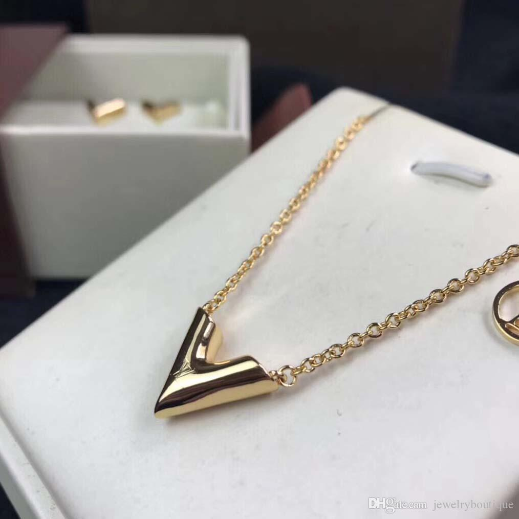 Brand name Gold-color V Letter Shap Pendant Necklace Link Chain Necklace Fashion Jewelry For Girl PS5074