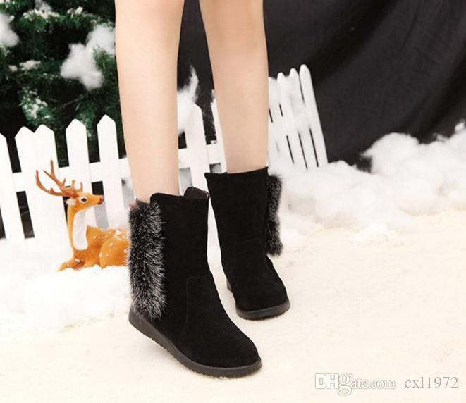 Foreign trade large size women's boots fur one warm leisure low boots flat fur short tube boots