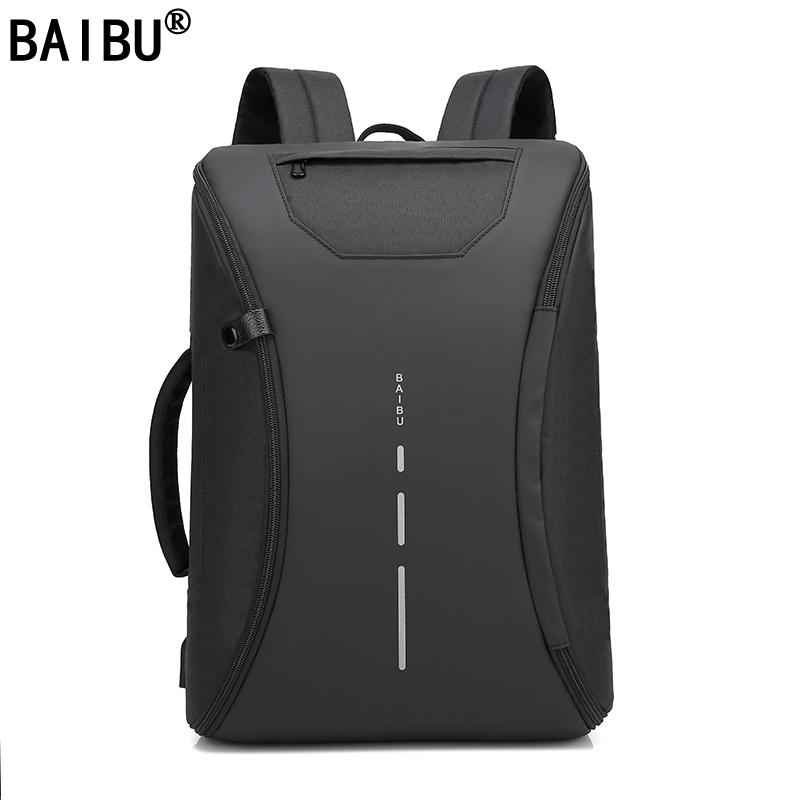 ac784c4083c8 BAIBU Men 15.6 inch Laptop Backpack Anti Theft Backpack Usb Charging Men  School Notebook Bag Oxford Waterproof Travel Backpack