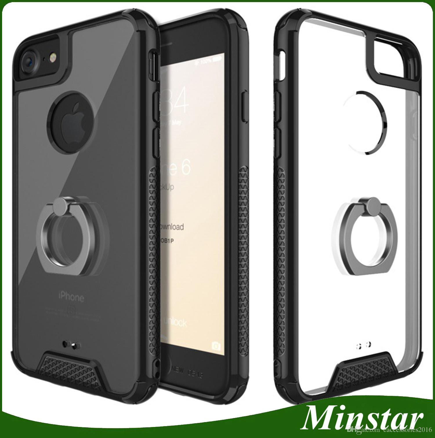 TPU Bumper Clear Tough Acrylic Ring Holder Kickstand Phone Case Hand Grip Cover for Huawei P10 Plus P9 Plus Honor P8 Lite Mate 9 Plus Mate 9 Plus Case