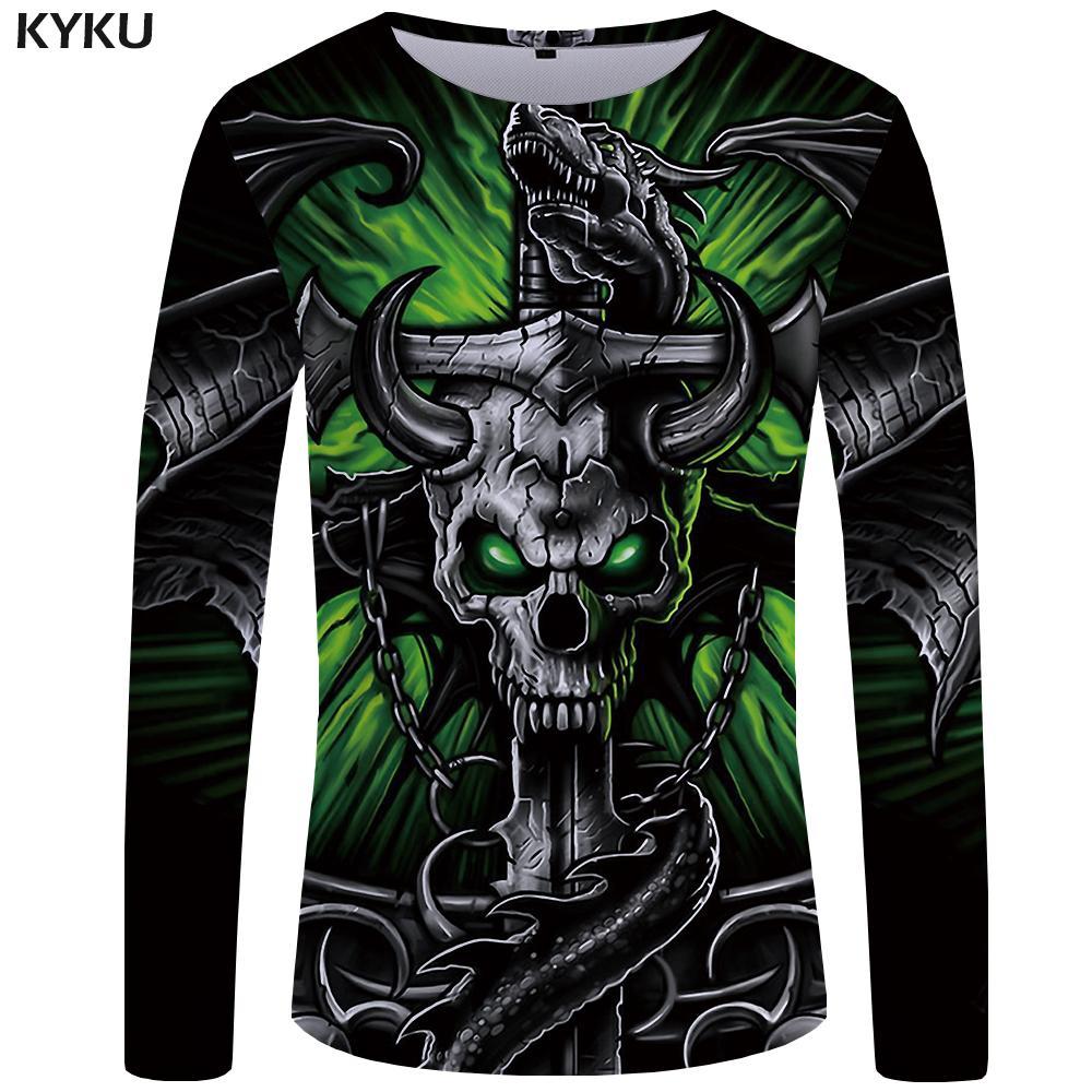 KYKU Brand Skull T Shirt Men Long Sleeve Shirt Green Funny T Shirts Bull  Head Rock Dragon Streetwear Anime Japan Mens Clothing Personalised T Shirt  Mens Tee ... efa9b5817