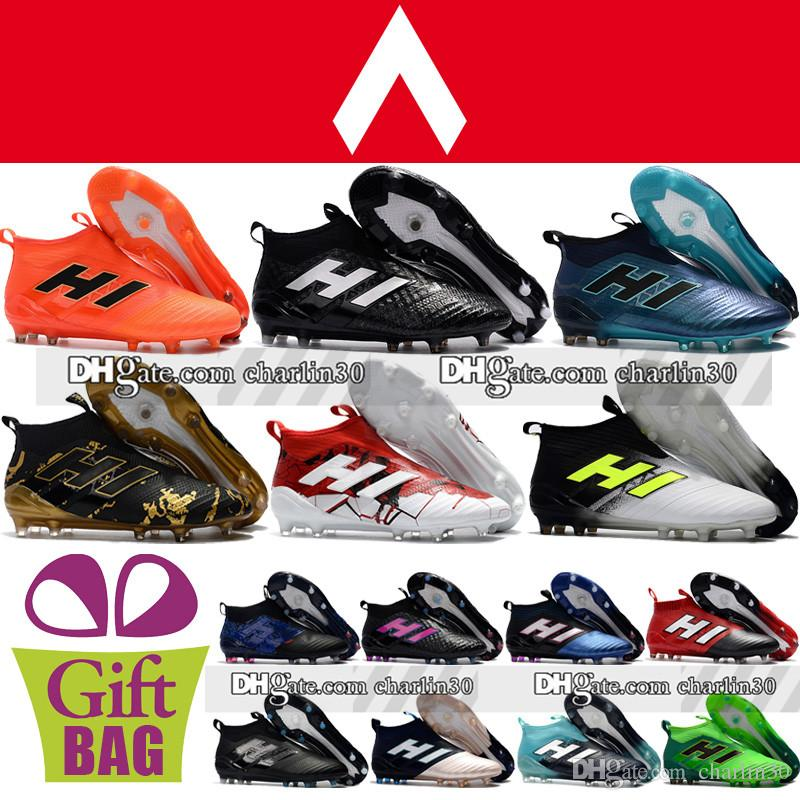 8593e24f5100 New 2018 Laceless High Ankle Football Boots ACE 17 Purecontrol FG Soccer  Shoes Outdoor ACE 17.1 Tango Pure Control Soccer Cleats Turf Black Boots  Boots ...
