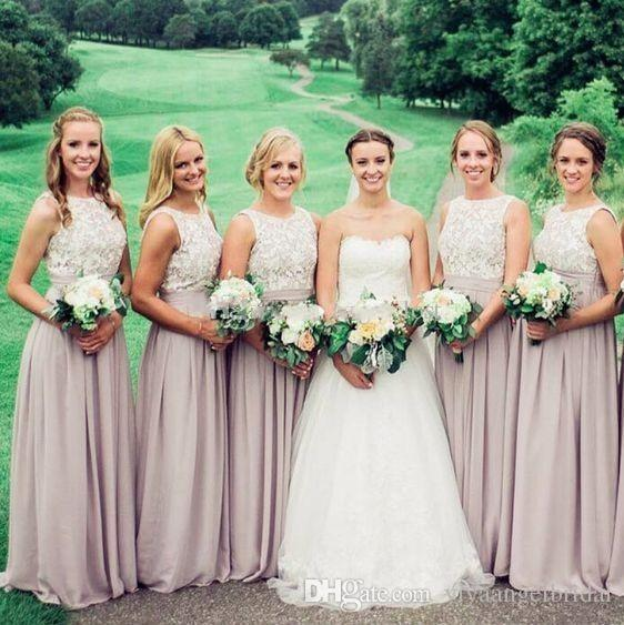 Country Chiffon 2019 Bridesmaid Dresses Crew White Lace Applique Backless  Pleats Long Arabic For Junior Wedding Party Guest Gown Beach Cheap Lilac ... d261e4dba8b8