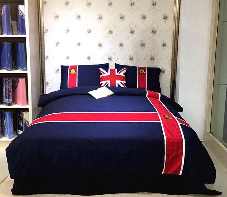 Großhandel Heimtextilien Neue Dunkelblau Rot Einfache Bettwäsche