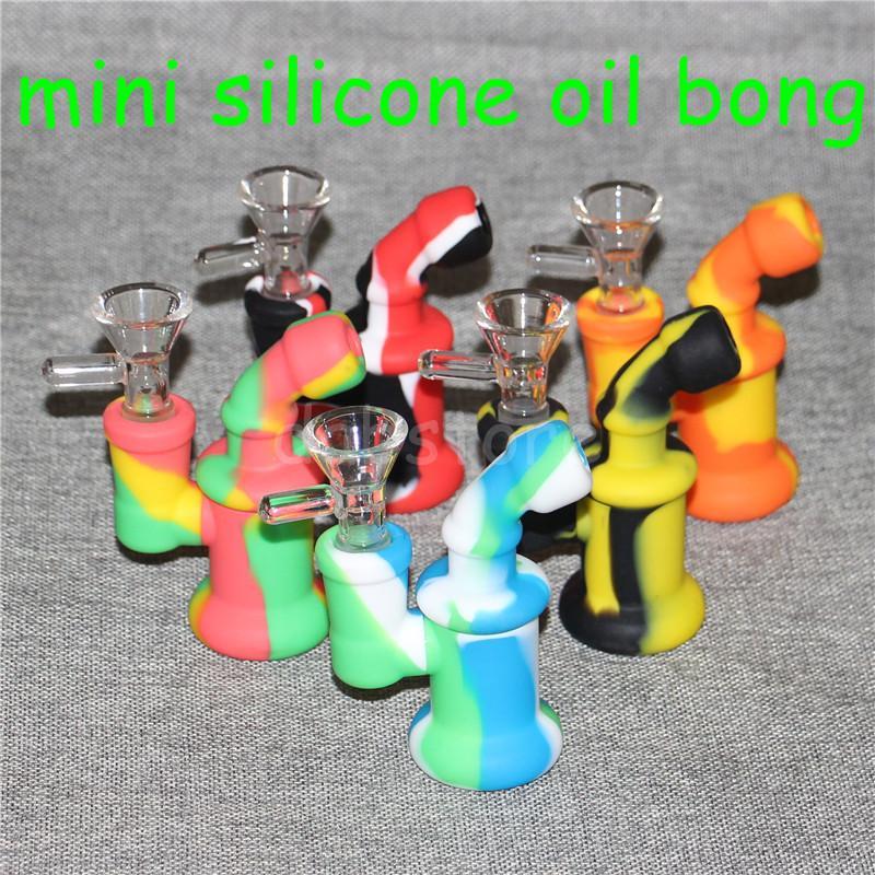 5 unids Agua Quemador de Aceite de Silicona Burbujeante Tubo Bong quemadores pequeños Tubos Burbujeante dab rigs Plataforma petrolera para fumar Mini Beaker Heady Bongs
