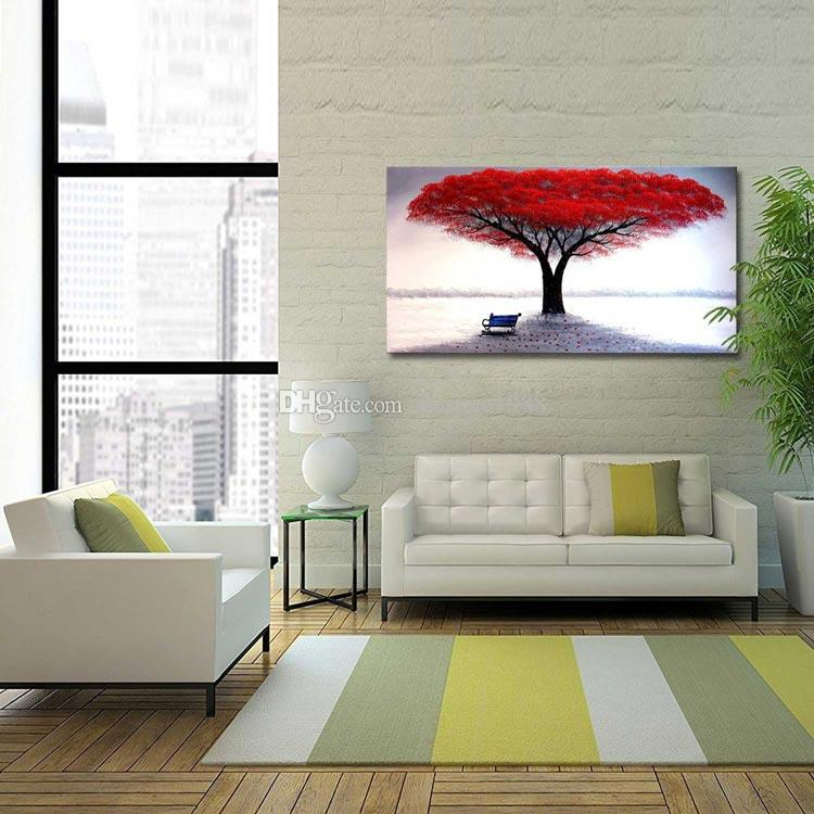 Hand Painted Oil Paintings Red Life Tree of life Wall Art Pictures For Living Room Office Decor Best Gift