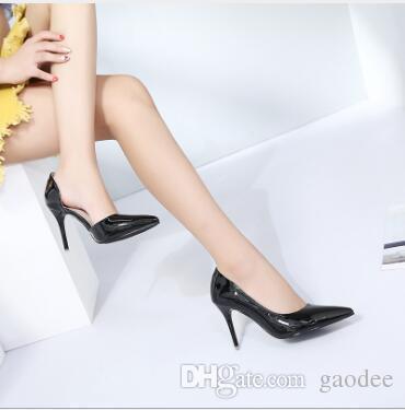 Brand Designer-Classico da donna Marchio Rosso Bottom Tacchi alti Pelle verniciata A punta Scarpe eleganti di lusso Bocca Superficiale Rosso Suola Scarpe da sposa