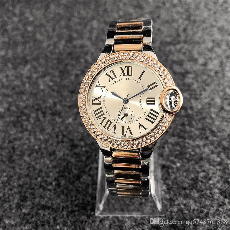 38 mm reloj mujer marca de moda reloj lleno de diamantes mujeres simple digital Vestido de damas Diseñador de lujo Relojes para mujer Pulsera Reloj de oro rosa