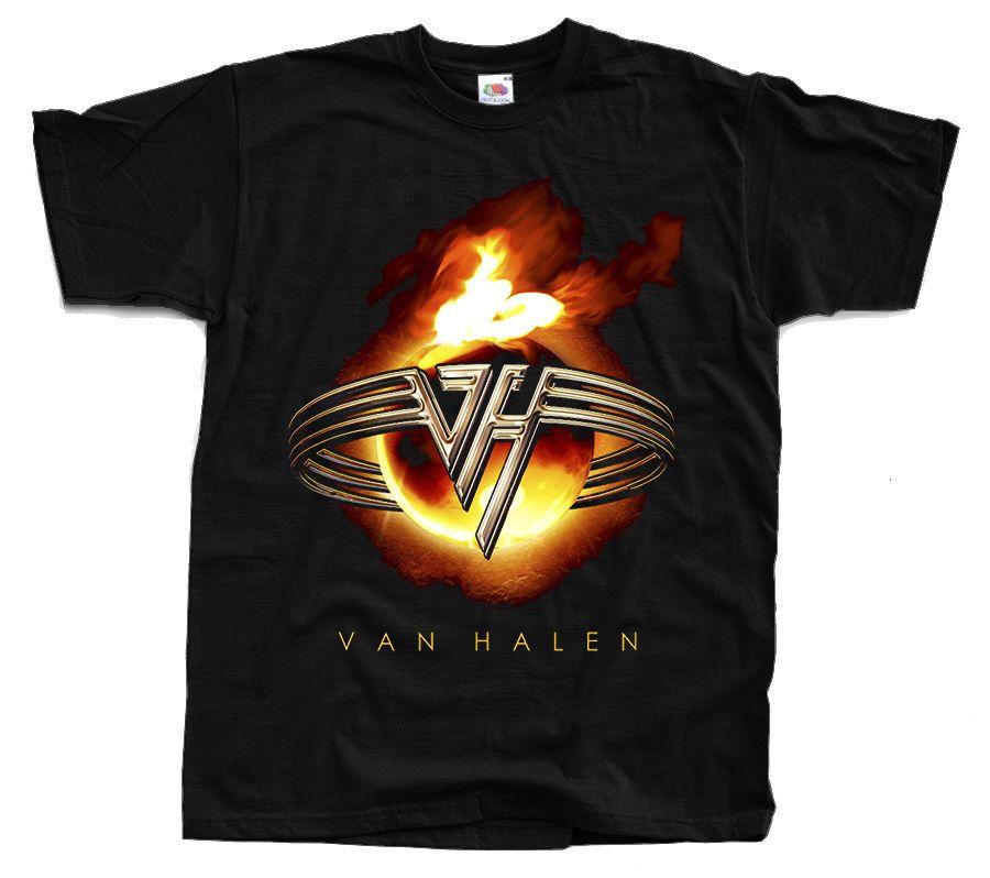 Van Halen Logo In Flames T Shirt Black S 5xl Short Sleeve Shirts