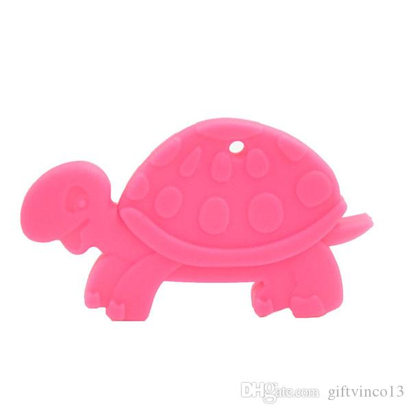 Silicone Turtle Shaped Pendant Necklace Baby Teether Food Grade Silicone Beads Teething Necklace Chewable Toy Nursing Jewelry