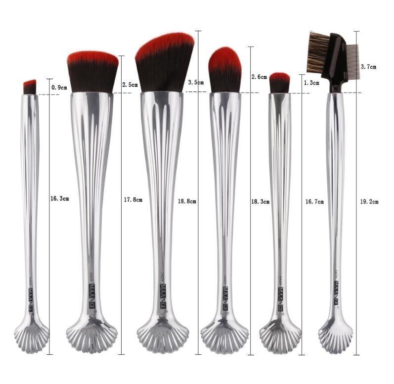 Nuevo 6 unids Tubo de aluminio plateado Lana Pinceles de maquillaje Blush Foundation Brush Diseños de concha Sombra de ojos profesional Pestañas Set de pinceles
