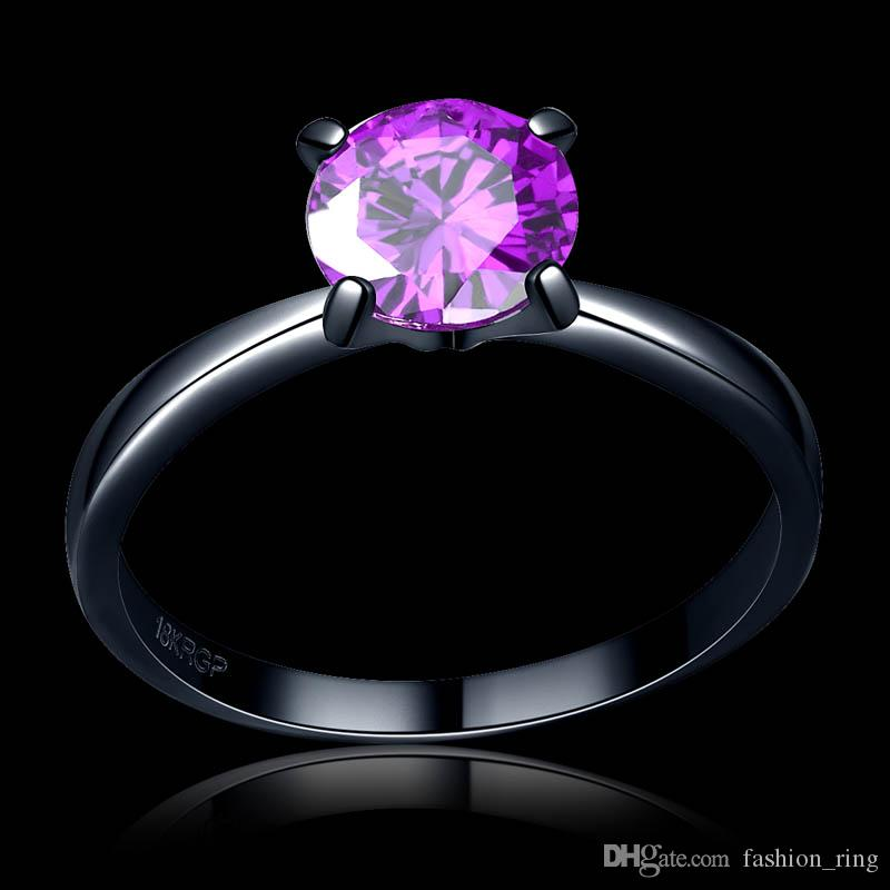 High quality wholesale Antique Zircon ring in Purple /green/red color 7mm with 4 paw stud Black Gold Filled lover's ring for women 1703