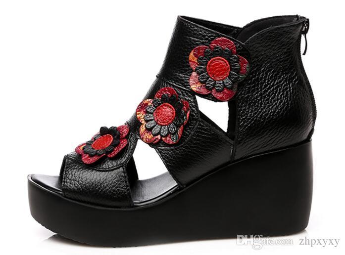 2019 ethnischen stil frauen aus echtem leder high heel plateau sandalen dame keile sandalen schöne sommer schuhe 1nx19
