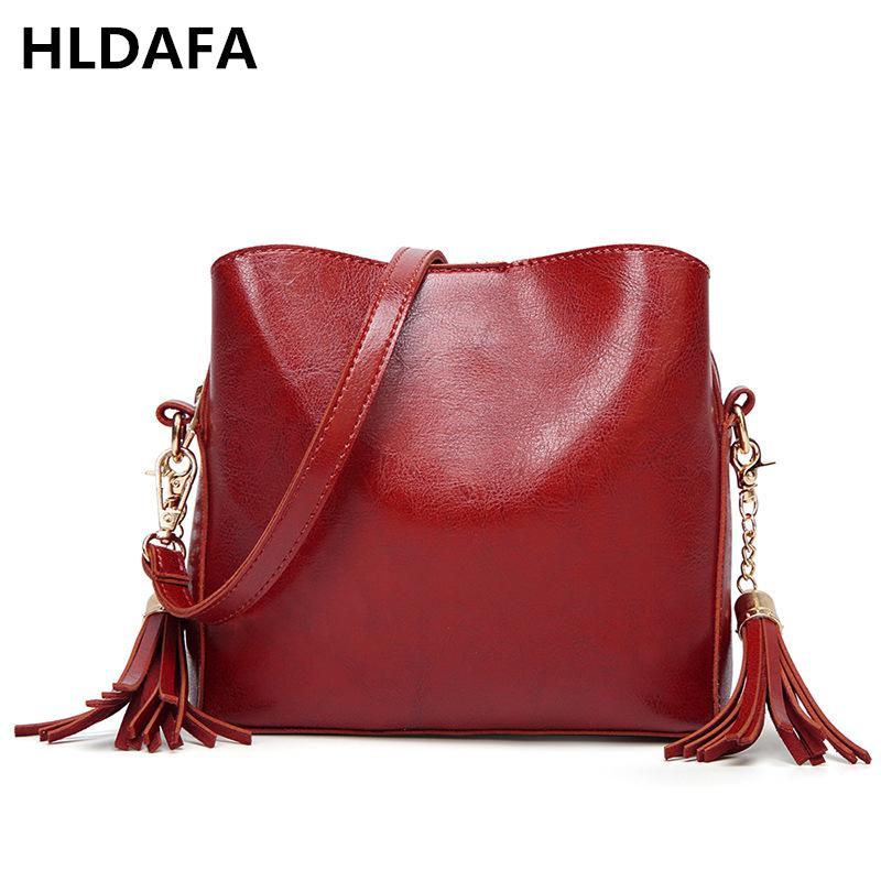 631db52579 HLDAFA Fashion Designer Oil Wax Leather Women Bag Tote Ladies Shoulder Bags  Tassel Crossbody Bags Small Messenger Bag Handbags Handbag Wholesale Hobo  Purses ...