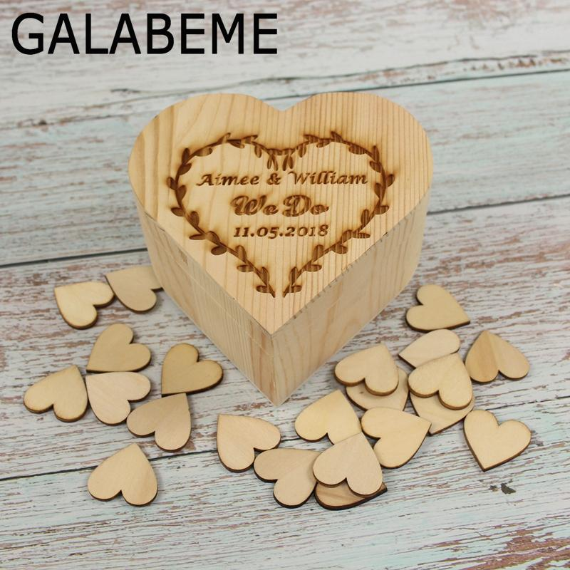 Wholesale Personalized Wedding Guest Book Box Rustic Wedding Ring Box Custom Wooden Keepsake Box With 50pcs Love Hearts