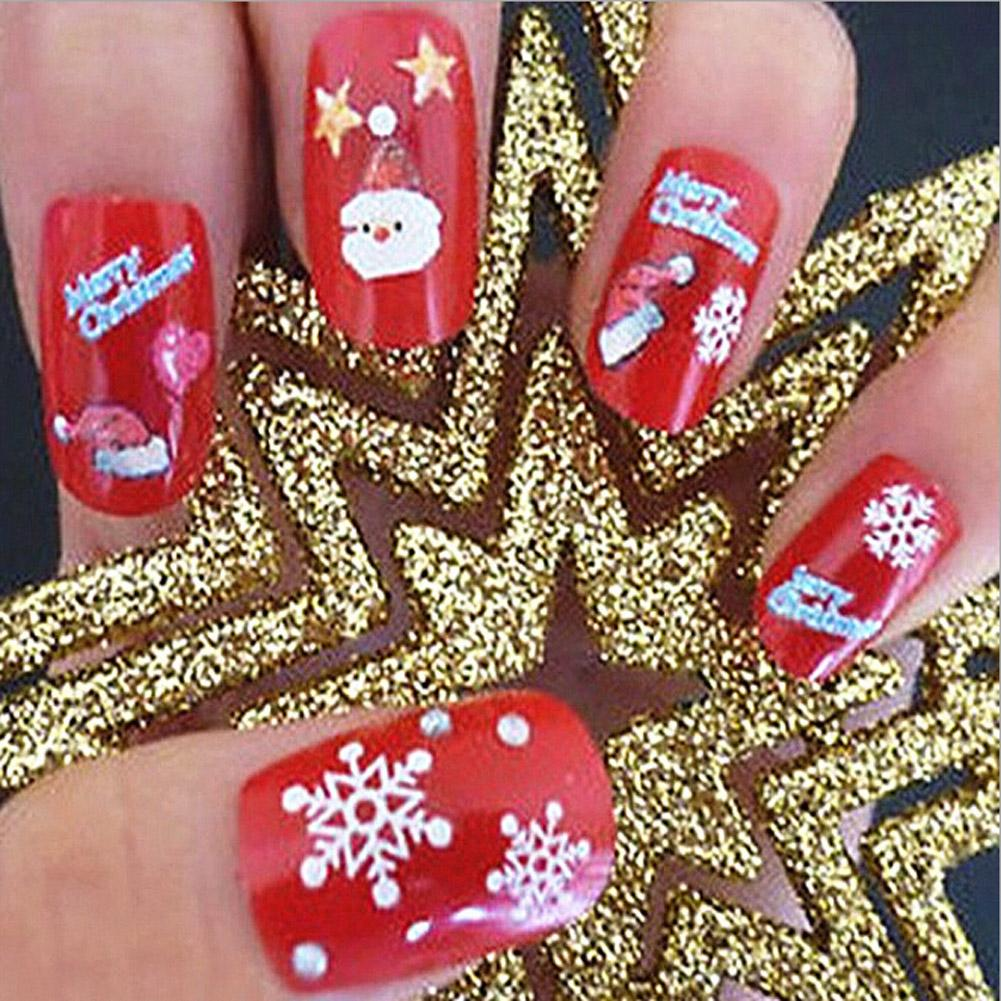 Christmas Gift New Nail Stickers Christmas Patterns 3D Water Transfer Decals Polish DIY Nail Art Decoration Kit