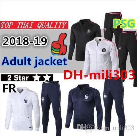 18 19 Two Stars France Jacket MBAPPE GRIEZMANN POGBA Training Suit 2018 2019  PSG CAVANI Paris Maillot De Foot Full Zipper Jacket Tracksuit UK 2019 From  ... 1f2b7954d