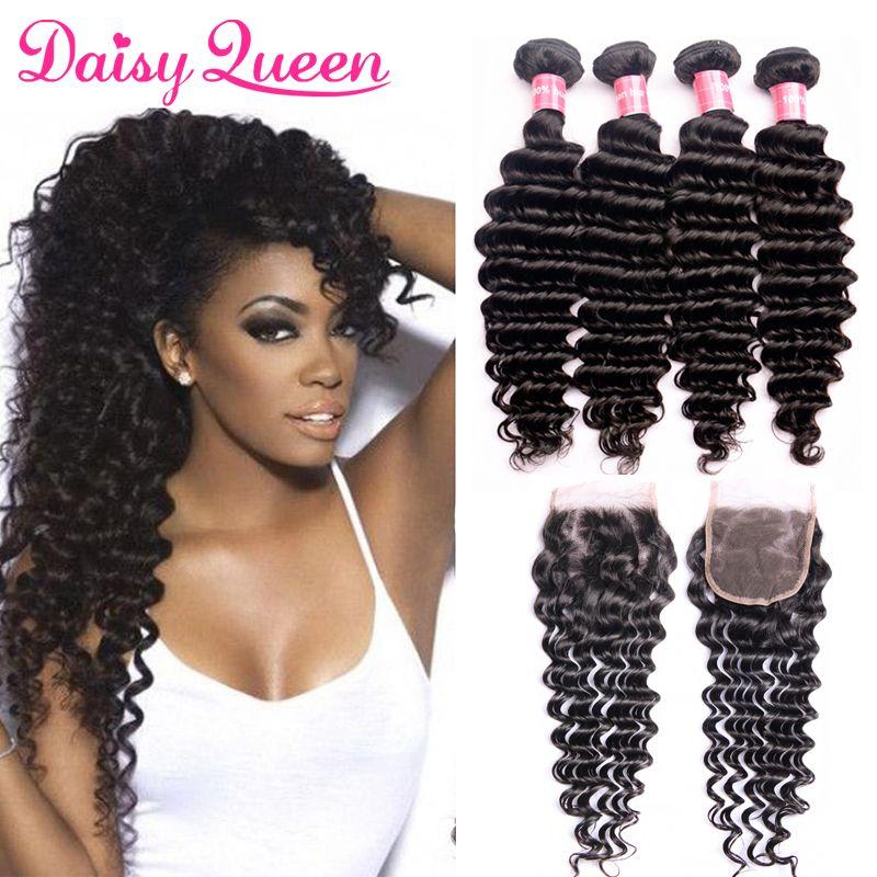 Deep Wave Brazilian Hair Bundles With Lace Closure 8a Unprocessed