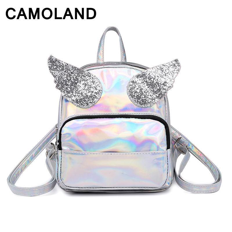 9a0ecc225b91 Small Hologram Backpack Laser Holographic Women Bag Sparkle Wings PU  Leather Primary School Bag Girl Rucksacks Travel Backpack Book Bags  Herschel Backpacks ...