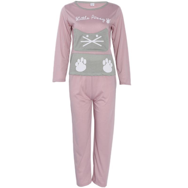 13d8bd4778be42 Frauen Langarm Cartoon Katze Print Tops Rosa Hosen Pyjamas Set Nachtwäsche #