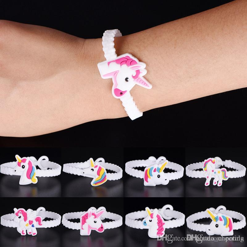 Funny Children Charm Unique Unicorn Bracelets Girls Boys Birthday Party bag  fillers Kids Baby Silicone Wristband Child Toy Xmas Halloween