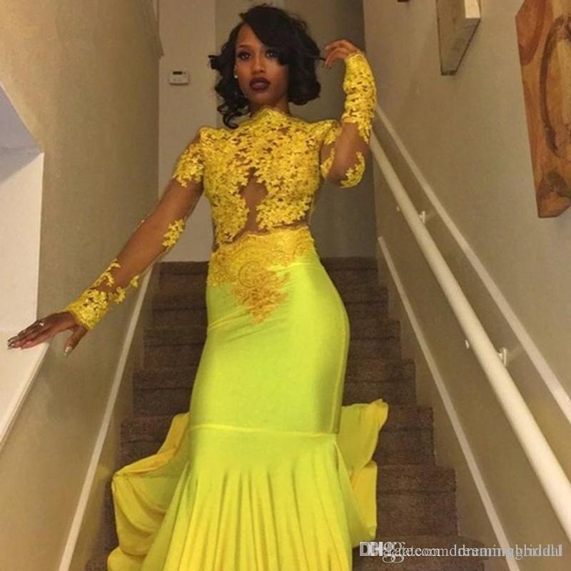 Black Girl Mermaid Yellow Prom Dresses 2018 New Long