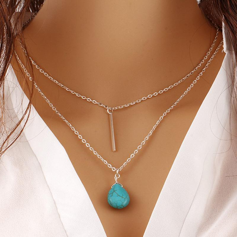 2018 New Fashion Gold Copper Chains Women Jewelry Turquoises Water Drop Pendant Charm Necklace Women Fashion Necklace