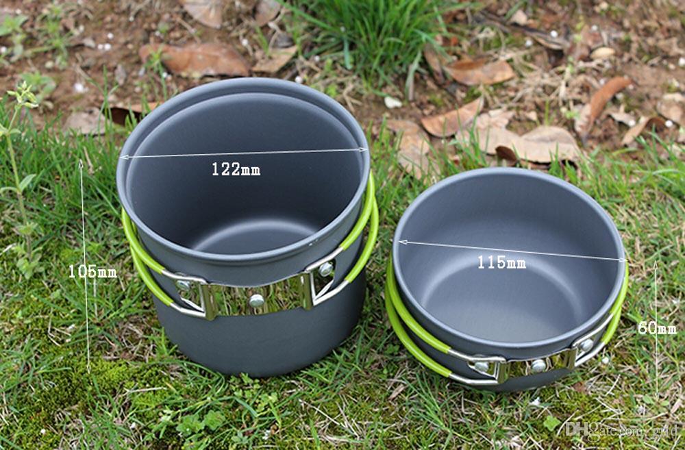 Portable aluminum camping pot sets Pot Pan Bowl cookware mini Outdoor Hiking Cooking Set