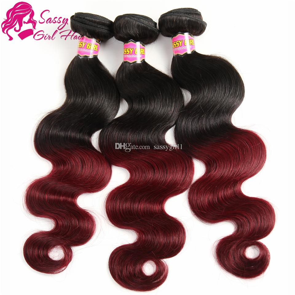 Body Wave Weave Virgin Human Hair Extensions 1B/99J# Ombre Virgin Hair Products Brazilian Peruvian Malaysian Indian Mongolian European