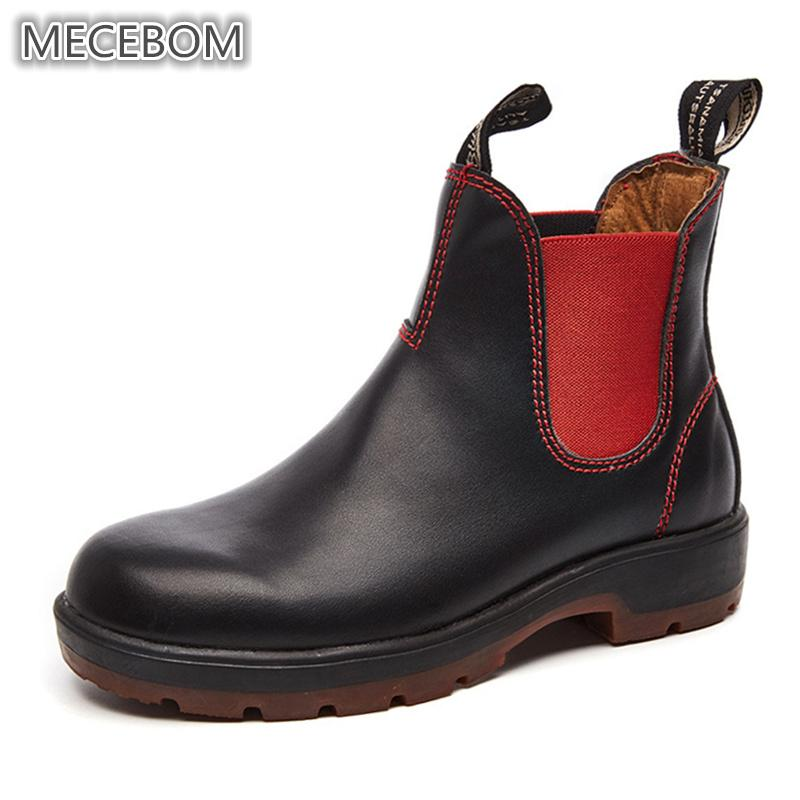 ebe73f27a Compre 2018 Nuevas Mujeres Botines Chelsea Zapatos De Cuero De Marca Para  Mujer Damas Otoño Botines Slip On Botas Mujer Plus Size 35 44 105w A  73.97  Del ...