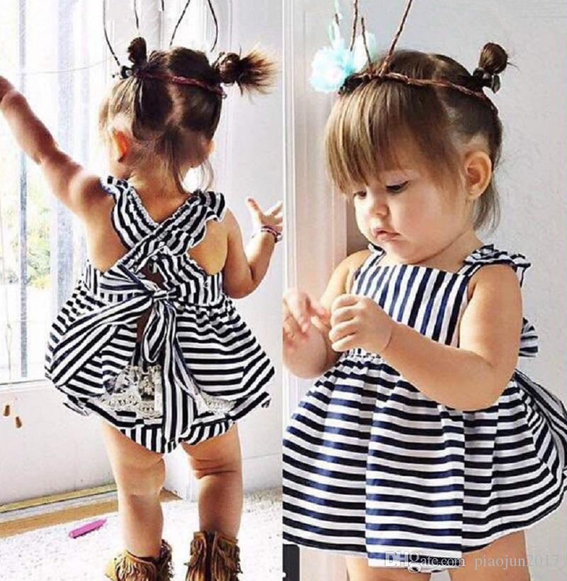 Baby Mädchen Sommer Hose Outfit Kleidung Rock Kleid Halter Sommerkleid Marineblau
