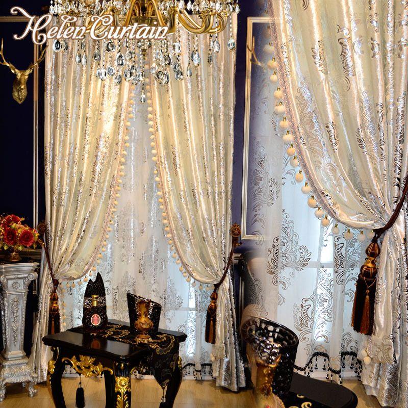 2018 Helen Curtain Luxury Hot Silver Curtains For Living Room White European Design Velvet Window Hotel Sheer From Starch