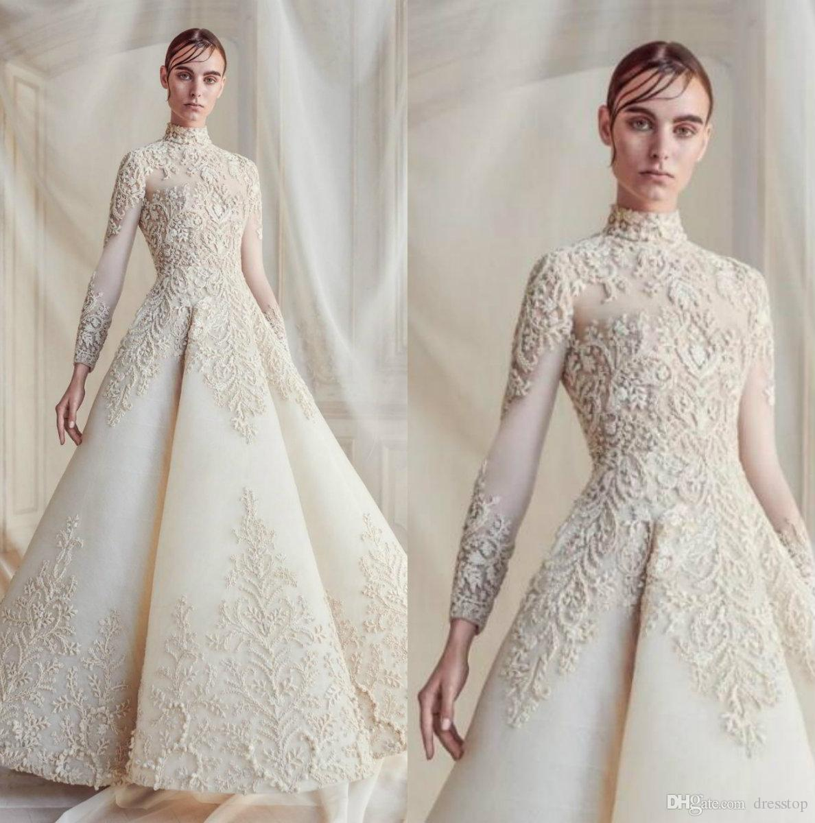 Winter Wedding Dress.Luxury 2019 Fall Winter Wedding Dresses High Neck Long Sleeve Appliqued Thick Lace Wedding Bridal Gowns Robe De Mariee Plus Wedding Dress