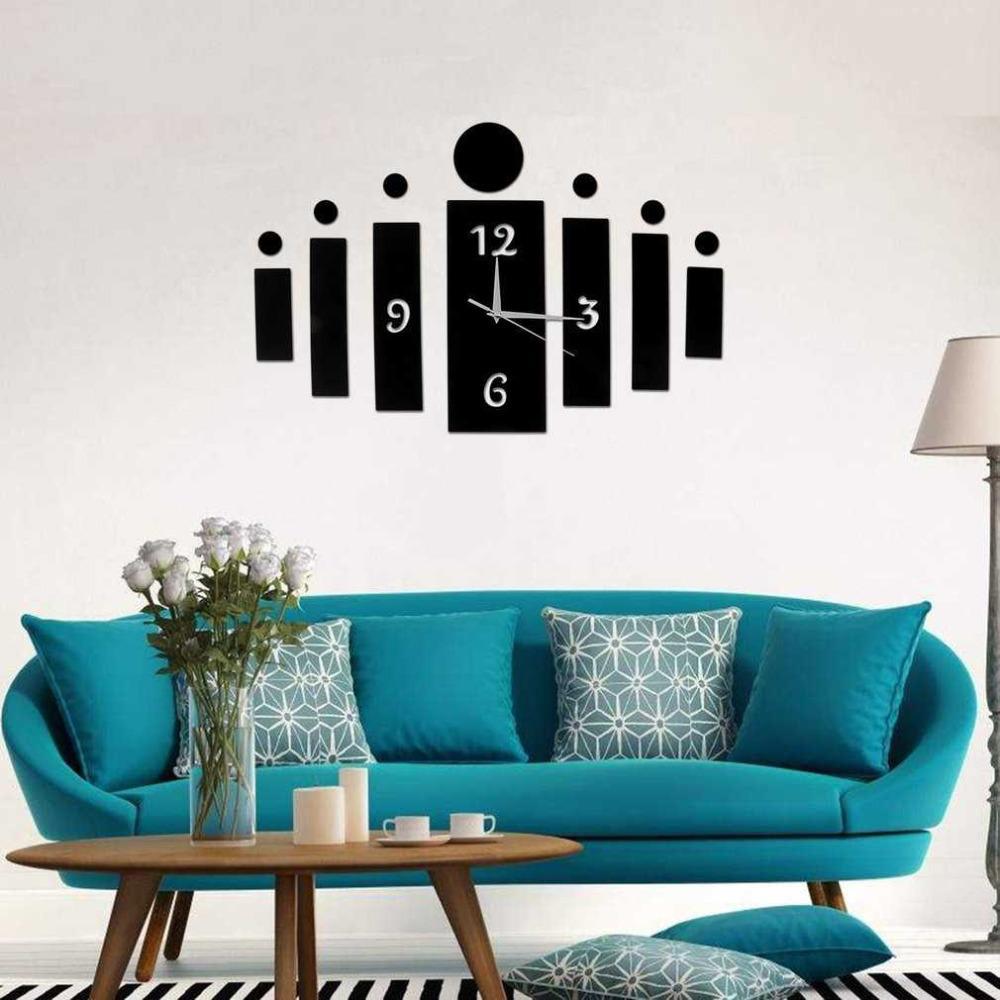 3d Diy Quartz Clock Mirror Wall Clock For Home Living Room ...