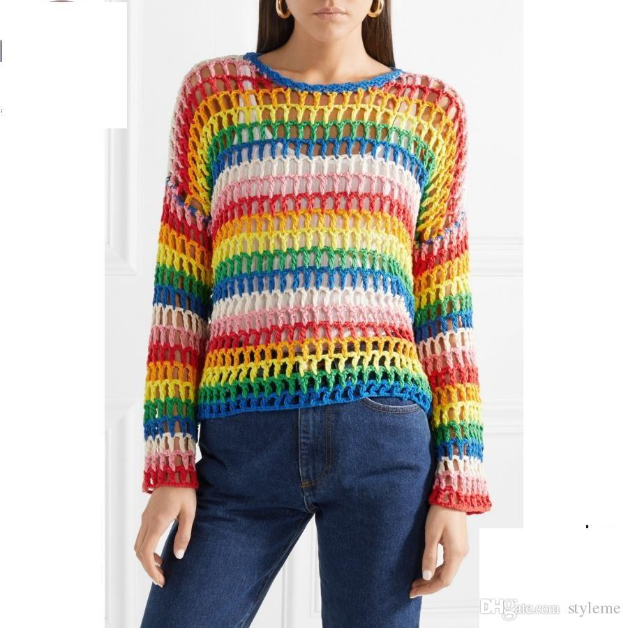 208696b6974b 2019 Brand Designer Women Crochet Rainbow Knitted Tops 2018 Summer ...