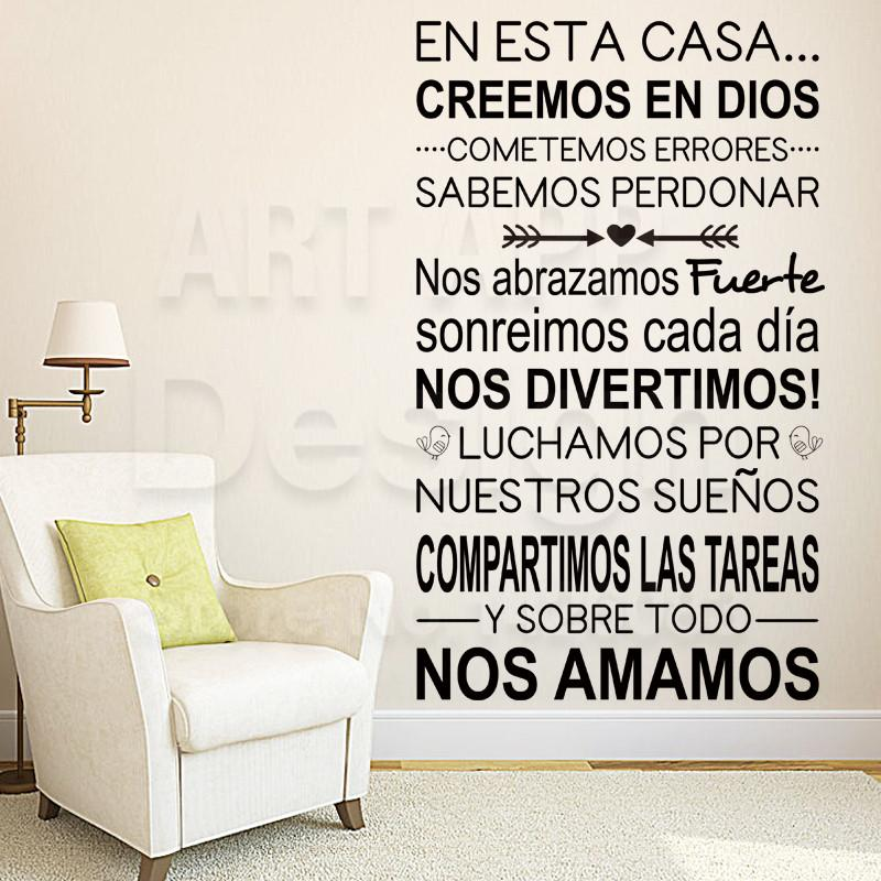 Art New Design Home Decor Vinyl Cheap Spanish Home Rules Words Wall Sticker  Colorful House Decoration Family Quote Room Decals Wall Sticker Wallpaper  Wall ...