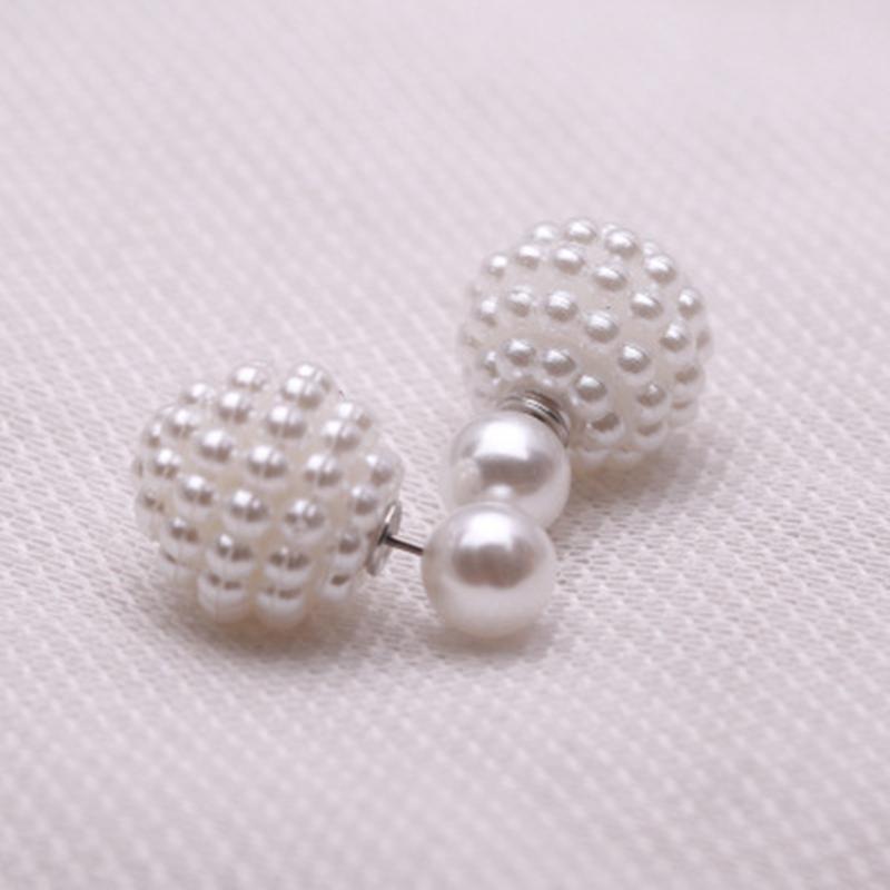 Gioielli di moda Double Side Imitazione perla orecchino carino Trendy lovely Charm Orecchini a perno di perle le donne i