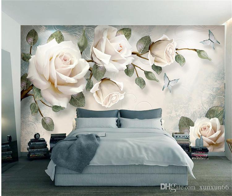 European Wallpaper White Rose Flower Mural Photo Wallpapers Living Room Wall Paper 3D papel pintado pared rollos papel de parede