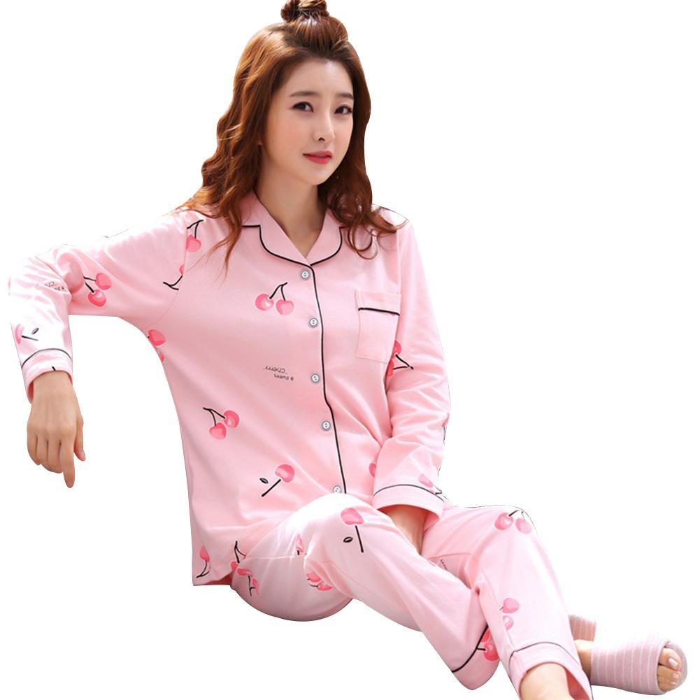 139679508b 2019 Cherry Rabbit Print Pajama Set Lapel Long Sleeve Women Two Pieces  Sleepwear New From Wudee