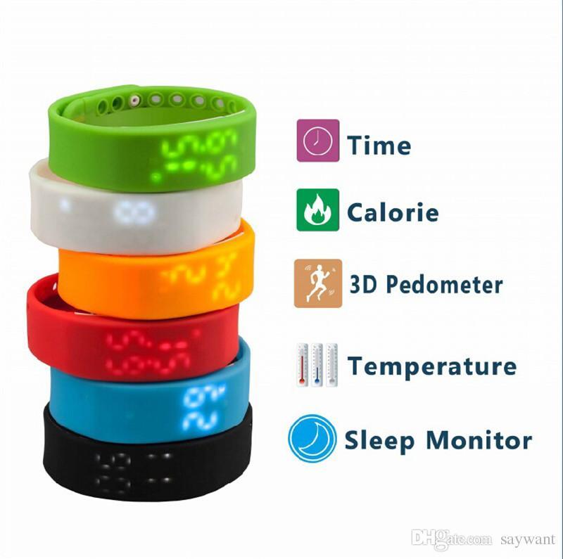 W2 USB Multifunction Bracelets Smart Wristbands Watch Slim Bracelet Watches Wristband Rushed Step Fitness Tracker 3D Pedometer Sleep Monitor