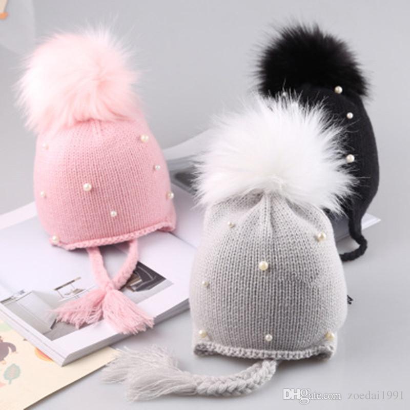 292ecd6ad29 2019 Cute Kid Baby Beanies Caps Child Crochet Winter Warm Knit Hats Cap  Baby Boy Girls Beading Hair Ball Earbud Hat From Zoedai1991