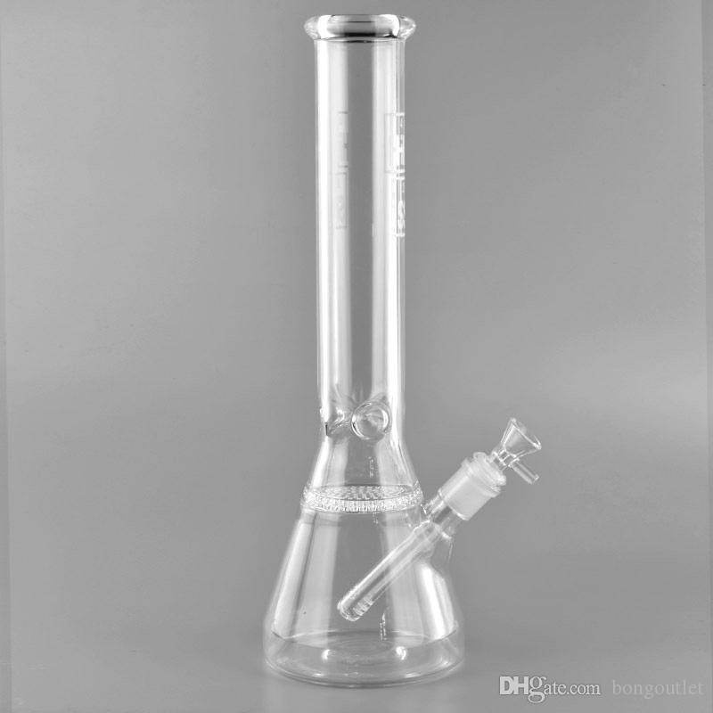 Hi Si Glass!14 inches Hi Si Beaker bong Ice notches glass water pipe honeycomb for Tobacco smoking High capacity