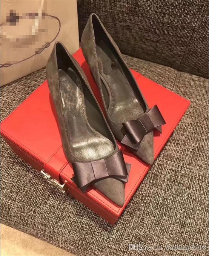 2018 новый мелкий рот блестками острым носом туфли на шпильках на высоком каблуке замша кожа боути атласная один европейский обувь