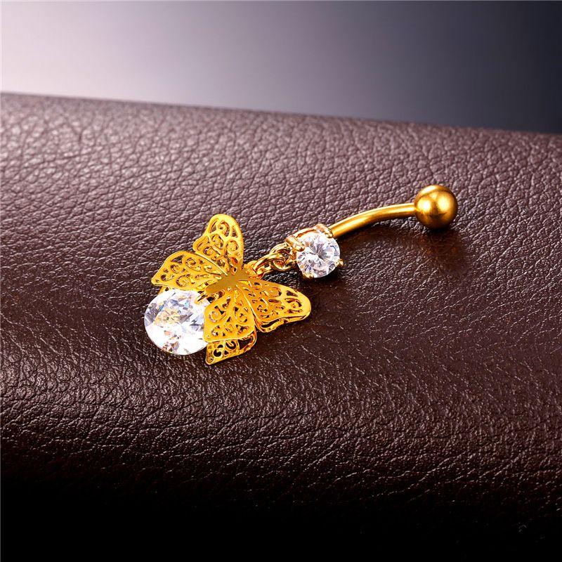 Collare Vintage Пупка ювелирные изделия Кольца Кристалл с бабочка Женщины Navel Пирсинг Золото / Серебро Цвет Женщины тела DB132
