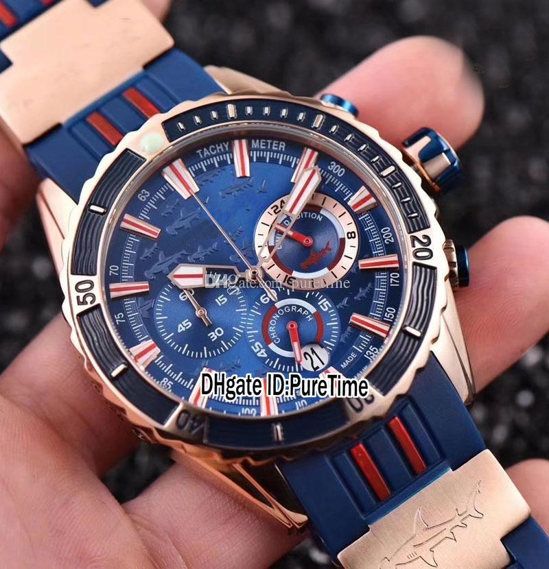 New Maxi Marine Diver 1502-151LE-3/93-HAMMER Rose Gold Blue Dial Chronograph Mens Watch Rubber Stopwatch Watches Puretime Cheap UN97-1a