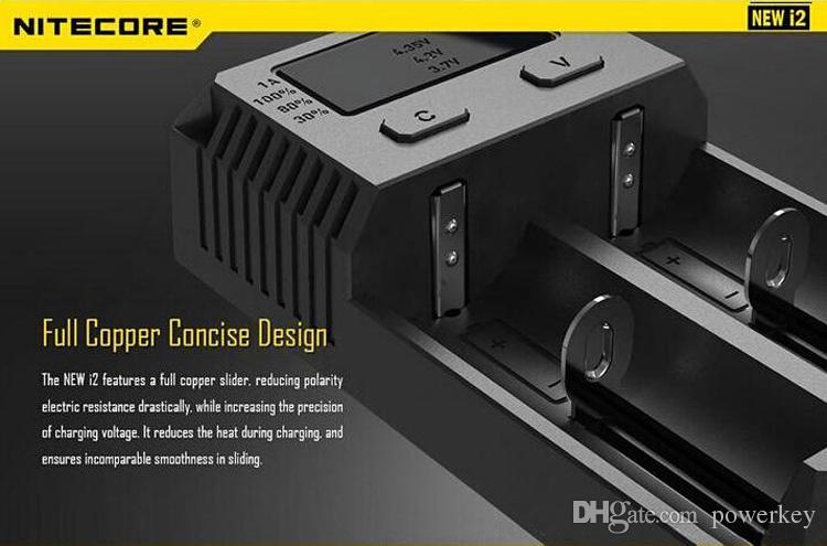 100% authentiques Nitecore I2 Intellicharger Universal 1500mAh Max sortie e cig Chargeurs pour 18650 18350 26650 10440 14500 Battery100% Orig