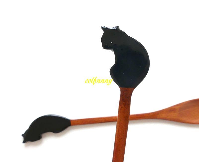 10 unids / lote envío gratuito 21 cm cuchara de madera mango largo gato en forma de cofre hecho a mano té vajilla pastel helado postre cuchara