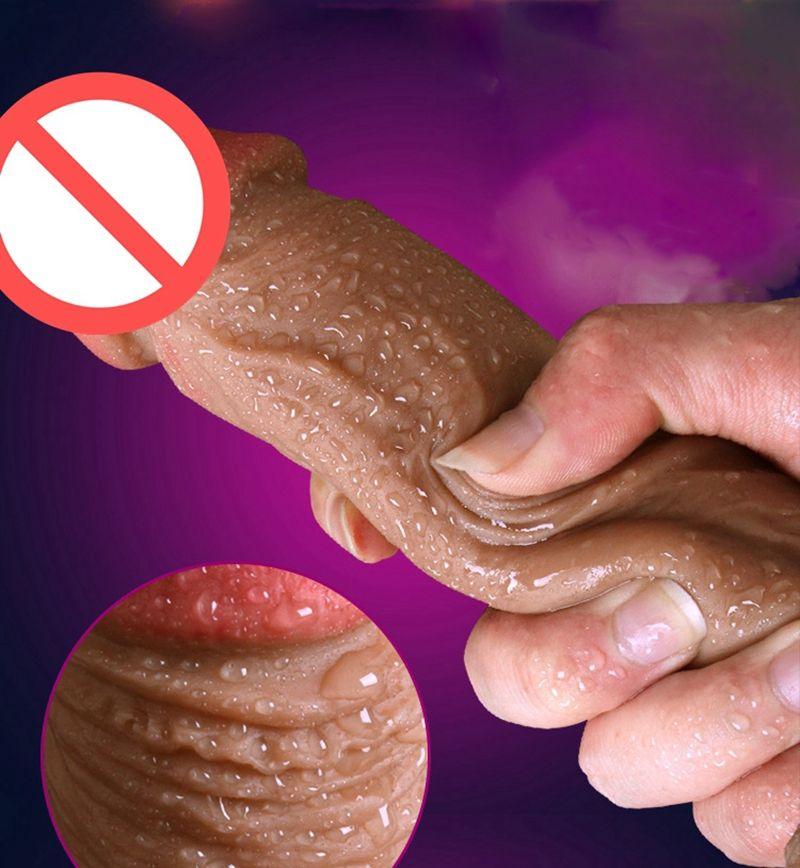 18cm double gode super réaliste en silicone réel peau gode tactile sans huile de haute qualité en silicone pour femmes jouets Masturbation produits de sexe