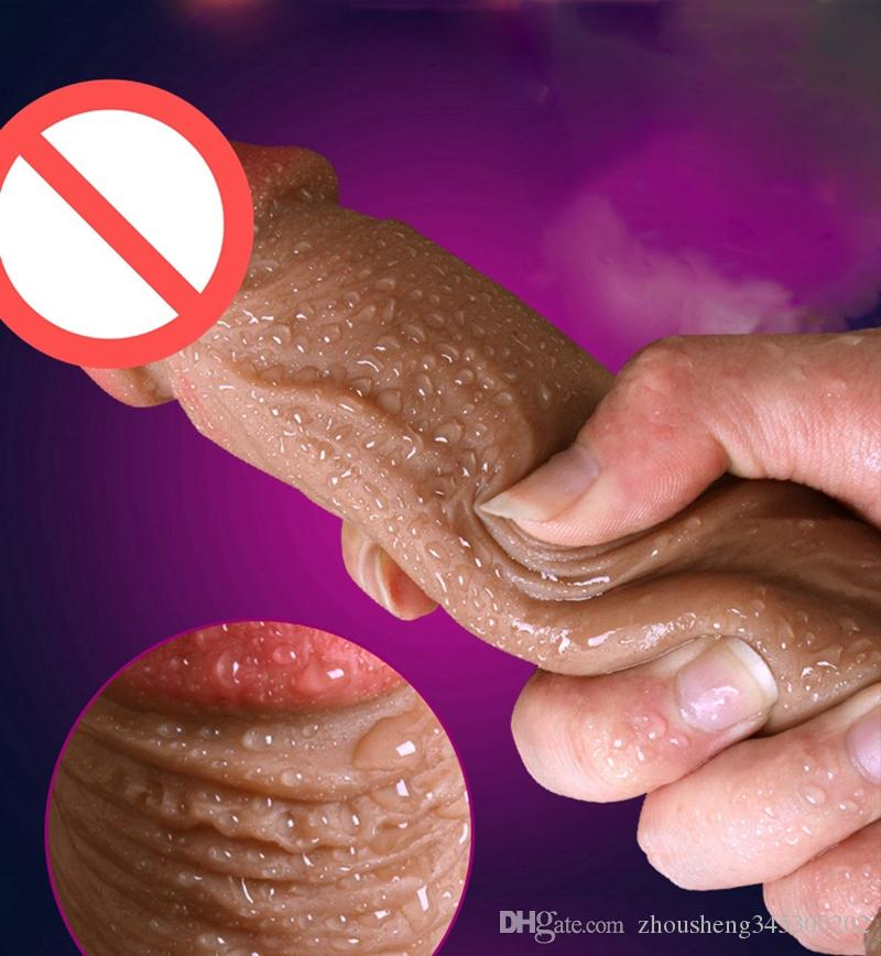 18cm Double Silicone Super Realistic Dildo Real Skin Touch Dildo No Oil High Quality Silicone for Women Masturbation Toys Sex Products